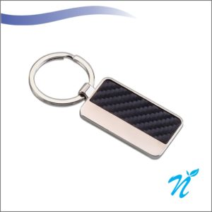 Leatherette and Silver Combination Keychain