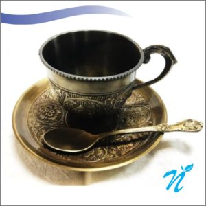 Brass Cup, saucer and spoon