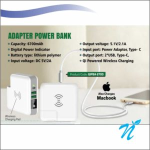 Adaptor Wireless Power Bank with C Output - 6700 MAH