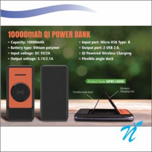 Type C Wireless Power Bank with Desktop Stand  - 10000 MAH