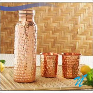 Hammerred Copper Bottle with 2 Glasses
