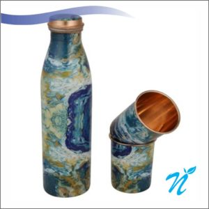 Printed Copper Bottle with 2 Glasses