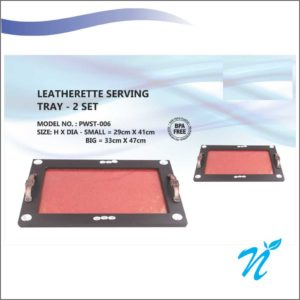 Leatherette Serving Tray - Set of 2