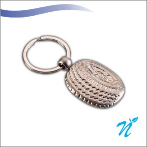 Tyre Shaped Metal Keychain