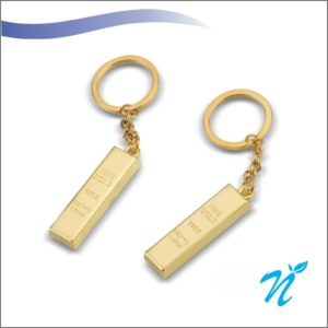 Gold Bar Metal Keychain