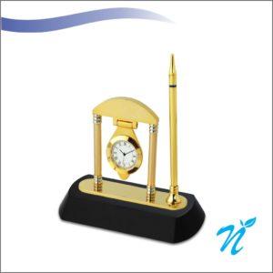 Brass & Wood Pen Stand (Gold )