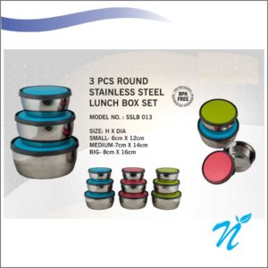 3 pcs Round Stainless Steel Lunch Box