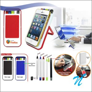 Multi Utility Stationery Kit with Anti Slip Mobile Holder