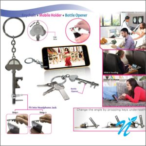 3 in 1 Opener Keychain with Mobile Holder