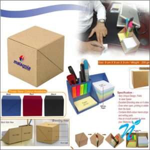Eco Cube Sticky-Memo Pad with Stationery Holder