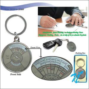 50 yrs Metal Calender Keychain- Silver