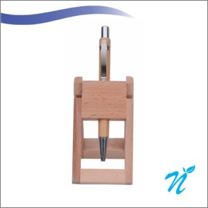 Wooden Pen Stand with Plastic Pen