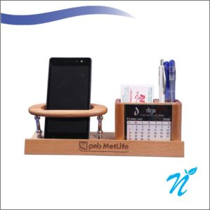Wooden Penstand With Clock
