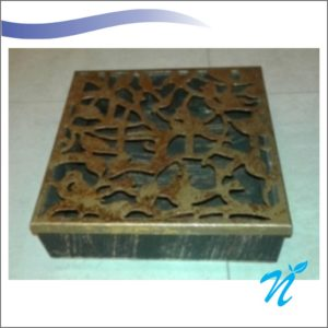 Square Wooden Metal Lid Box Brown Gold