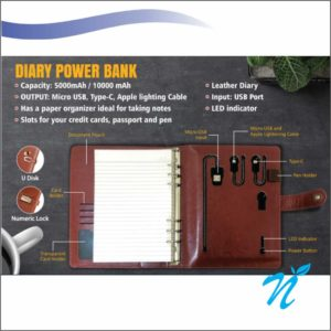 Diary Power Bank - 5000 MAH With Pendrive - 16 GB