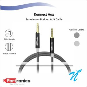 Portronics Konnect Aux cable - Black / Grey