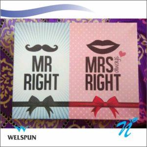 Welspun Mr. Right & Mrs Right Towel Set