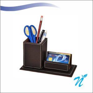 Leatherette Pen Stand& Visiting Card Holder